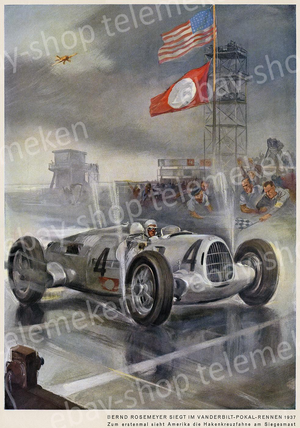 Rosemeyer Auto-Union Type C Rennwagen Vanderbilt-Cup Ziel Sieg ...