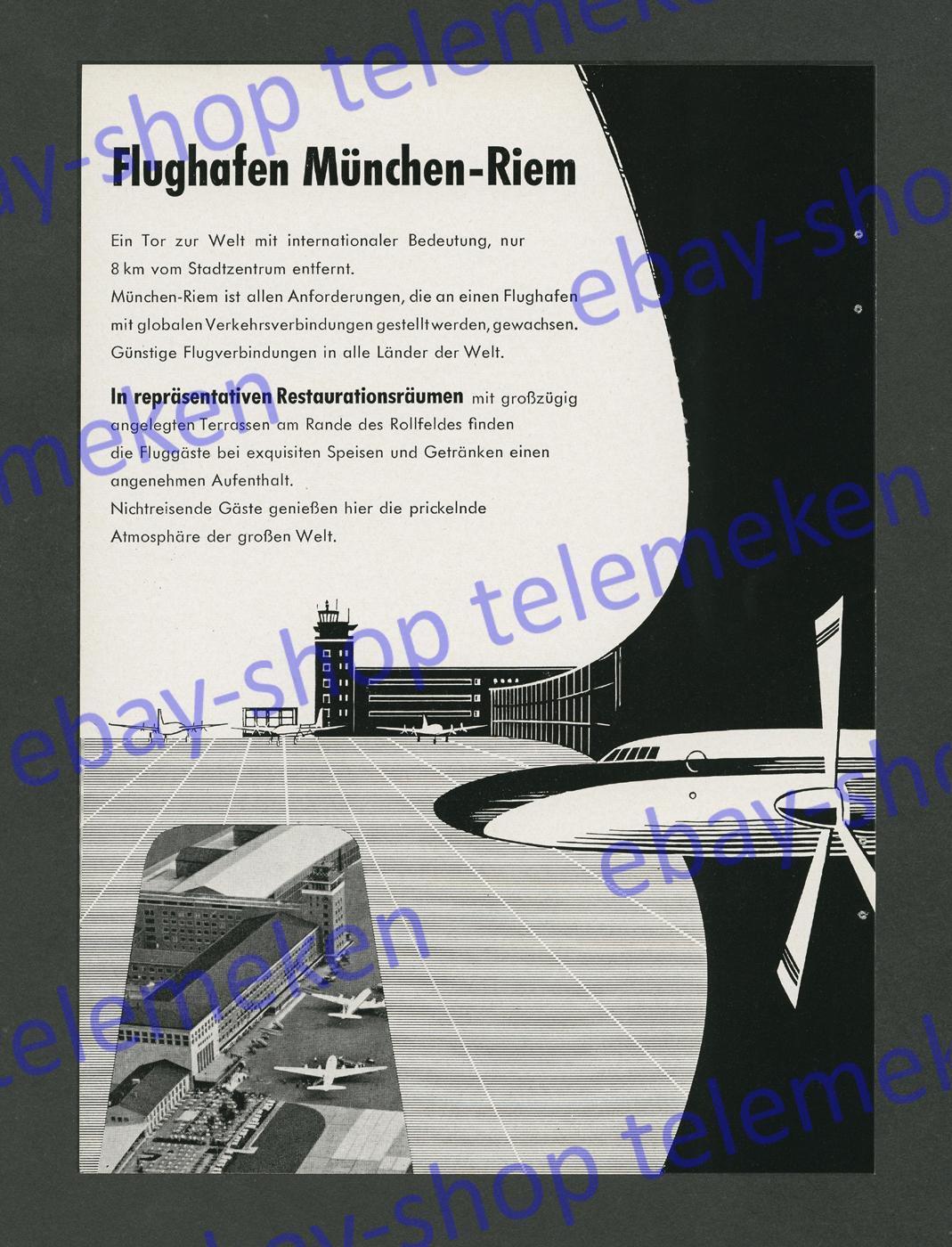 reklame flughafen m nchen riem luftbild luftfahrt grafik propellermaschinen 1958 ebay. Black Bedroom Furniture Sets. Home Design Ideas