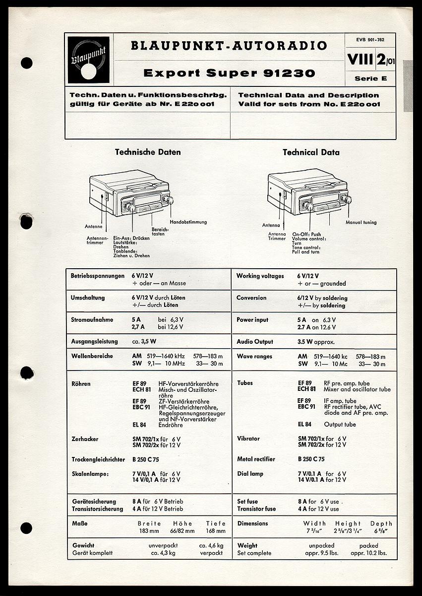 blaupunkt export super 91230 auto radio or schaltpl ne. Black Bedroom Furniture Sets. Home Design Ideas