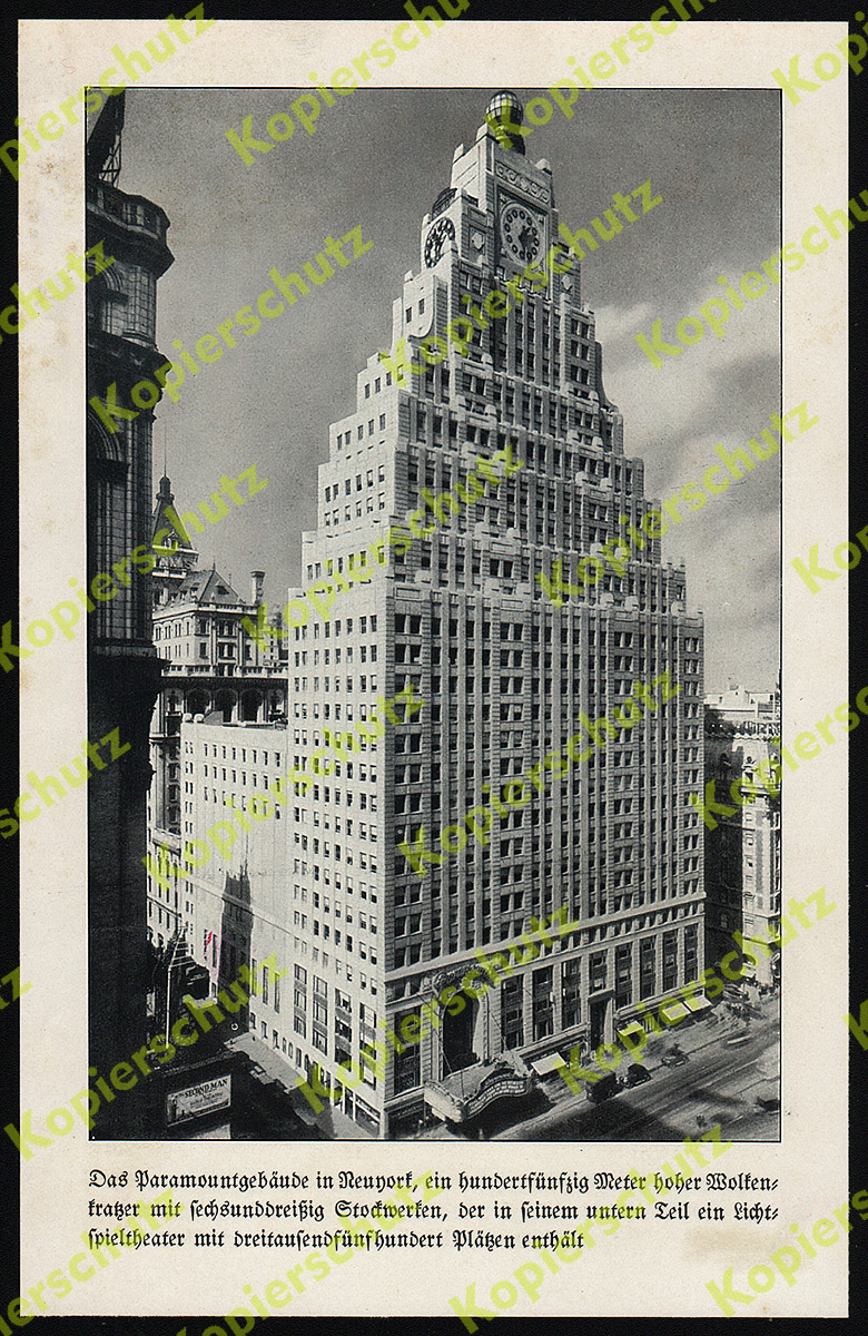 orig fotodruck paramount building film kino new york art deco architektur 1930 ebay. Black Bedroom Furniture Sets. Home Design Ideas