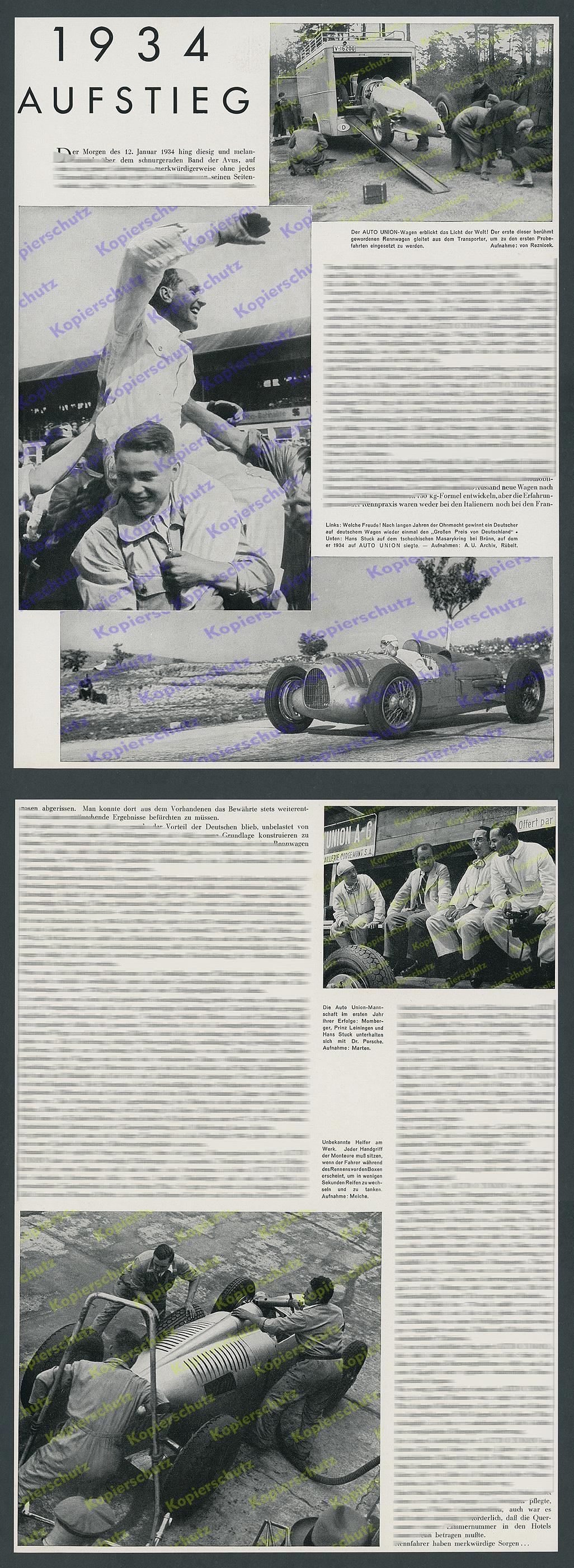 AUTO UNION Rennwagen Silberpfeile Hans Stuck GP Nürburgring Zwickau ...