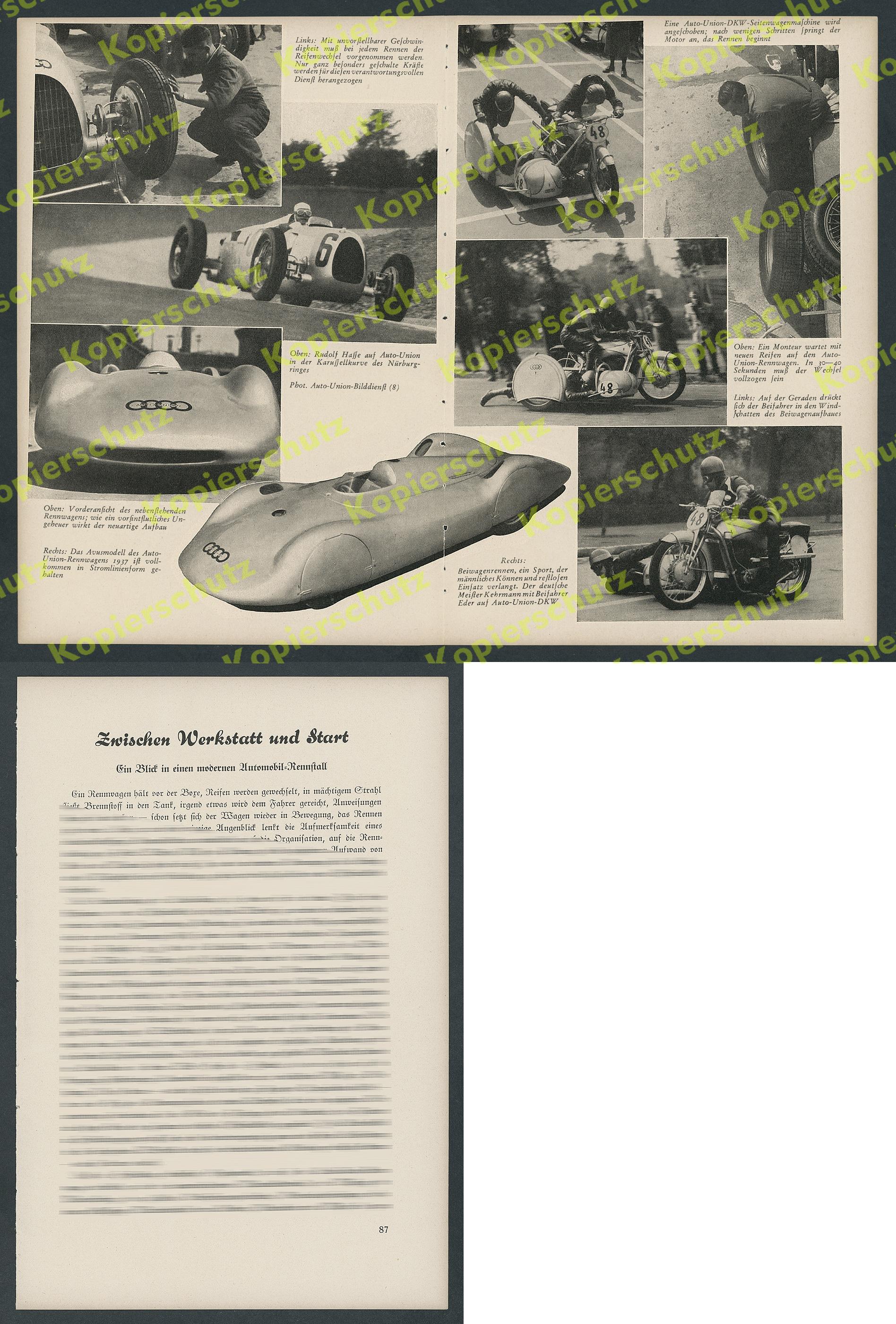 AUTO UNION Rudolf Hasse Silberpfeil Nürburgring Motorrad Beiwagen ...