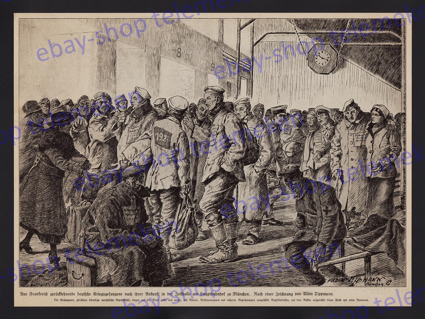 Sanit Rbedarf M Nchen albin tippmann dt kriegsgefangene heimkehr rotes kreuz hauptbahnhof münchen 1919 ebay
