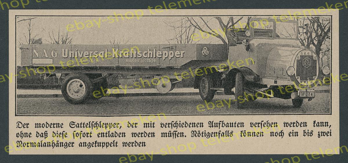 nag universal kraftschlepper zugmaschine cabrio lkw transport auto berlin 1928 ebay. Black Bedroom Furniture Sets. Home Design Ideas